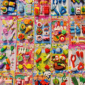 10set/lot !3D Simulation Fruit/food/animal/tool/car Blister-card Erasers/children Gift/30 Model For Choice