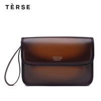 TERSE 2018 NEW Handbag Laptop for Men Real Leather Handmade Day Clutches 4 Colors Casual Purse With Cover Customize Logo 0531 1