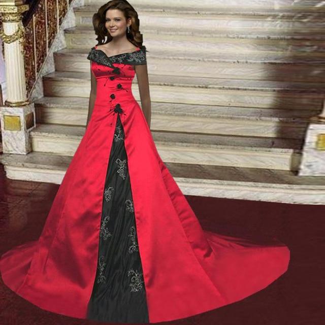 vintage 2017 negro y rojo bordado gótico vestido de novia corte tren
