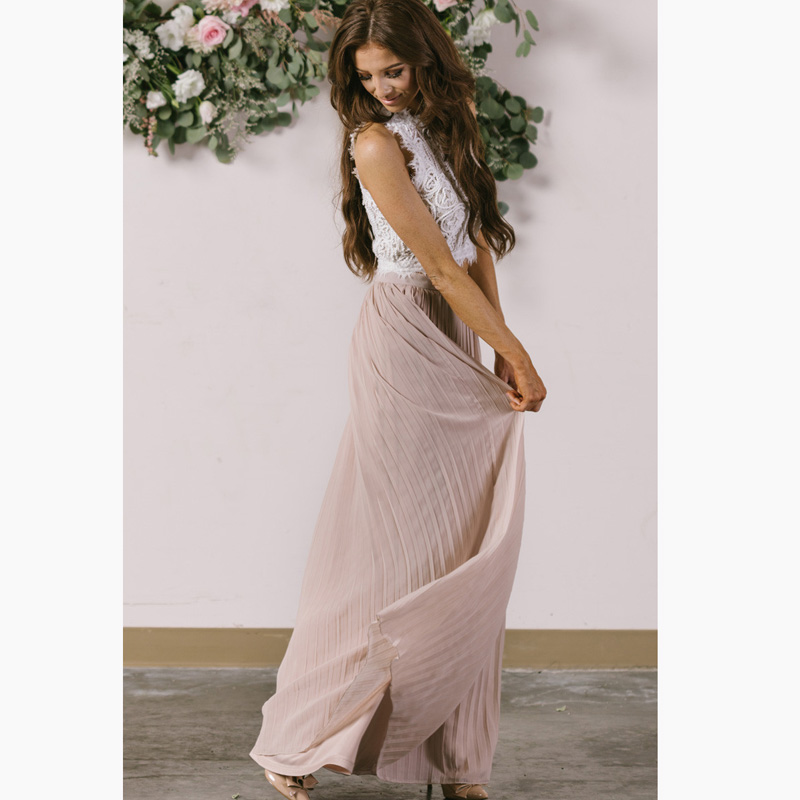 Fashion Light Purple Long Chiffon Skirt Floor Length Graceful Maxi Skirt Women Skirt saias na altura do joelho Lady Skirts