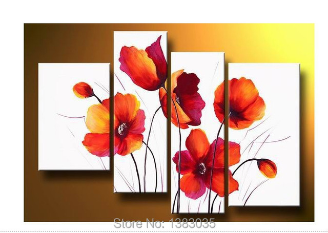 Hand Painted Abstract Poppy Paintings 4 Piece Large Modern ...