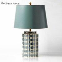 Европейская пасторальная креативная Цветная Керамическая Настольная лампа гостиная прикроватная лампа американская постсовременная кан