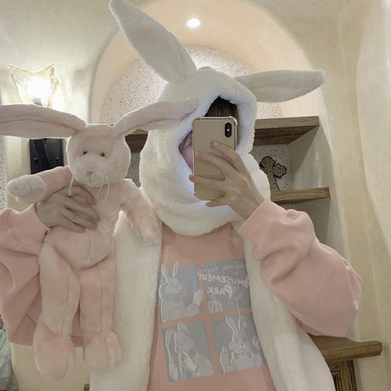 Women Warmer Winter Scarf Lovely Bunny Ears Soft Plush Hat Hooded Scarves New Fashion Fluffy Animal Cap Scarf Nice Gift For Girl