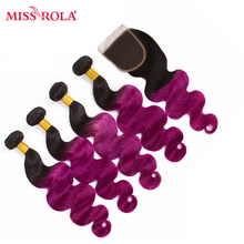 Miss Rola Hair Pre-colored Ombre Mongolian Body Wave Hair #1B/Purple Human Hair 4 Bundles with Closure Hair Extensions  Non Remy