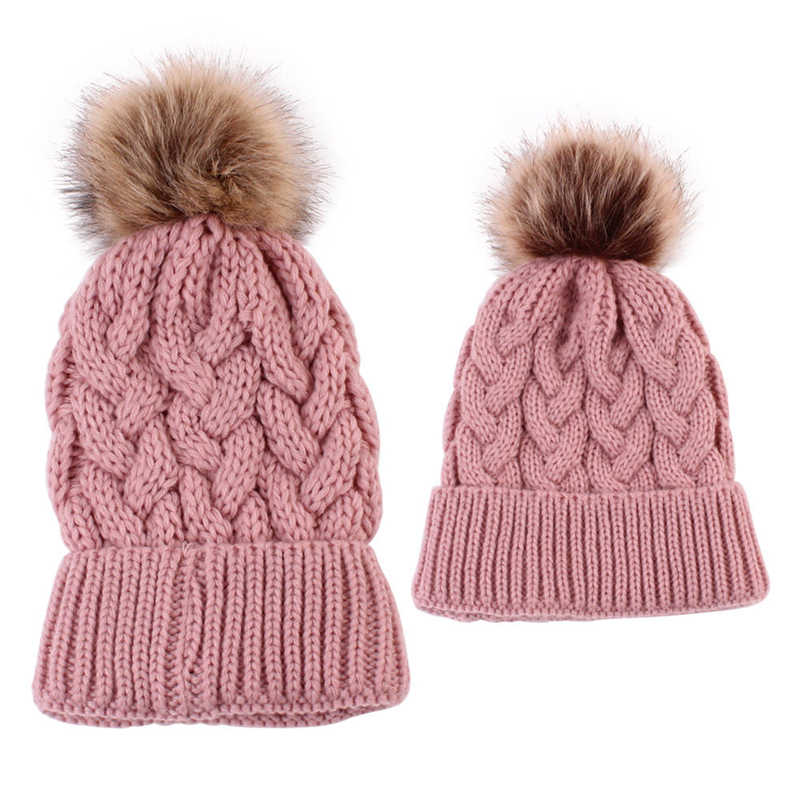 98350c81592 ... Cute Kids Girls Hats Mother Daughter Warm Knitted Hat Family Matching Children  Hats And Caps Winter ...
