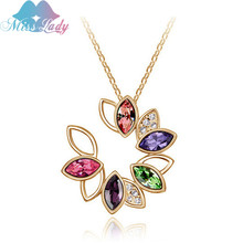 Miss Lady Rose Gold color Austrian Crystal Korea Sun flower Necklace Pendant Wholesales Fashion Jewelry for women MLY4367