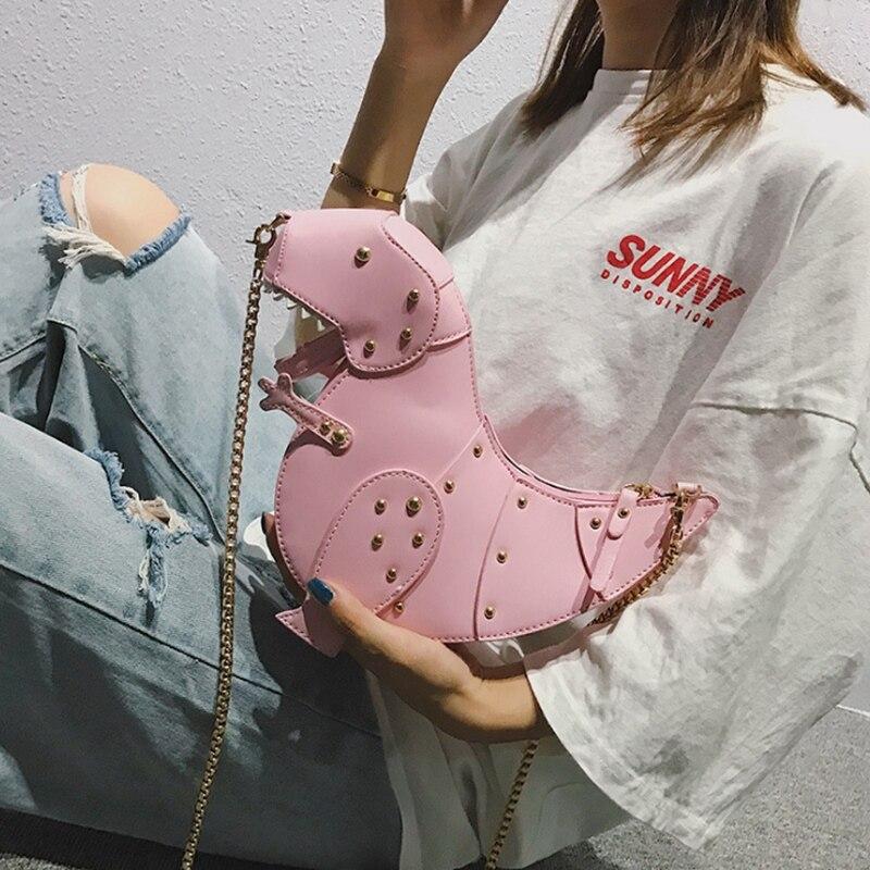 0de9d483ed Dinosaure Mini Pink femmes Bourse D'embrayage Cuir Bandoulière Fille Ljl Pu  De Chaîne rose Sac Forme ...
