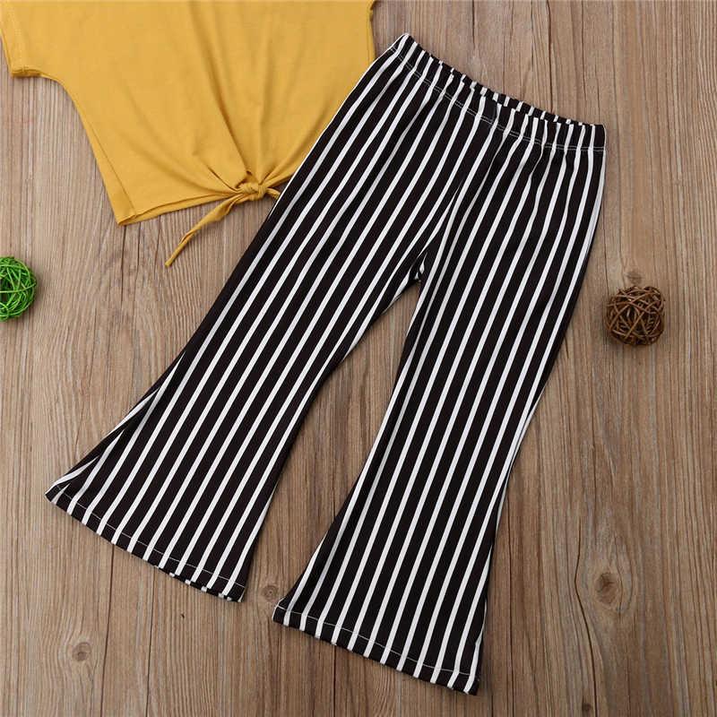 Emmababy Sıcak Satış 2 ADET Kız Elbise varış Rahat Katı Sarı kısa kollu tişört Siyah ve Beyaz Çizgili Boot Cut Pantolon