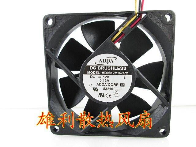 Entrega gratuita. Original AD0812MB-C72 12 V 0.13A 8 CM 8020 3 linha ventilador do gabinete de refrigeração