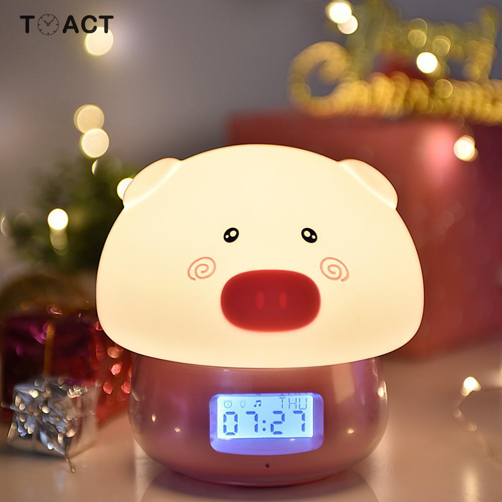 Child Alarm Clocks Remote Control Night Light Alarm Clock Cartoon Usb Charging Multi function Colorful LED Recording Pat Light