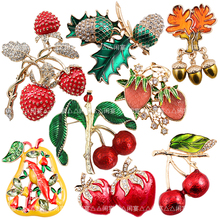 1pc New European and American retro Diy Brooch Vintage Enamel Cherry strawberry pear acorn Lapel Pins Badge for women New Year