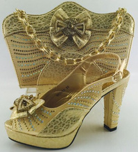 Gold Shoes And Bag To Match Italian African Shoes And Bag Set for Party Italian Matching Shoe And Bag Set Wedding Shoes ME6603