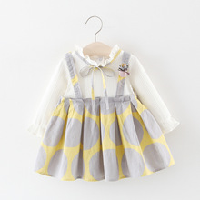 цена на Baby Girl Dress Princess 2019 New Spring Autumn Baby Clothes Long Sleeve Fake 2 Piece Party Dress baby girl clothes kids 0-3T