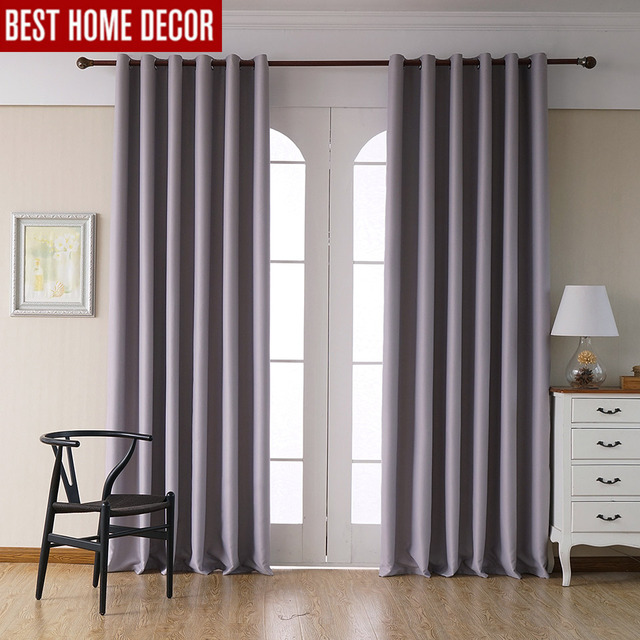 us $13.6 59% off|modern blackout curtains for living room bedroom curtains  for window drapes light grey finished blackout curtains 1 panel -in