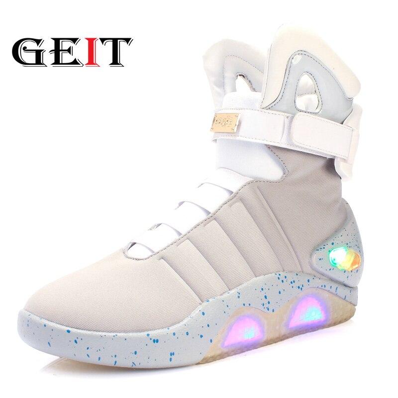 Adultes Usb Charge Led Chaussures Lumineuses Pour Les Hommes De La Mode éclairer Décontracté Retour à L'avenir Baskets Rougeoyantes Livraison Gratuite