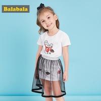 Balabala Girls Clothes Sets 2018 New Summer Cotton Fashion Cartoon Printed T Shirts Lace Dress 2Pcs