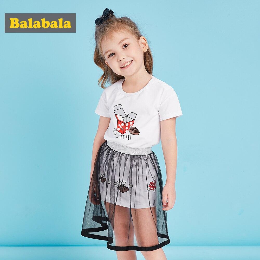 72d915fcd Balabala Meninas Conjuntos de Roupas 2018 Nova Moda de Verão de algodão Dos  Desenhos Animados Impresso T Shirt + Vestido de renda 2 Pcs Meninas  conjuntos de ...