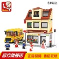 Sluban city bus modelo de brinquedo de montar blocos de construção criança de alta qualidade casa meninas meninos brinquedos DIY Crianças Brinquedos dos Presentes Do Natal