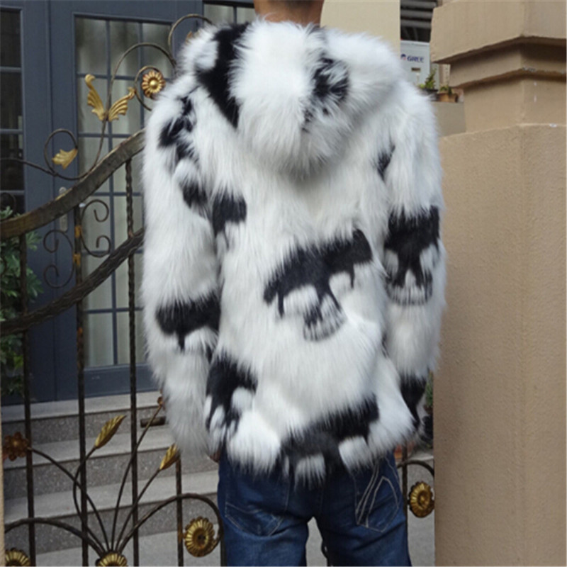 2019 зимнее Мужское пальто из искусственного меха с капюшоном, мужская куртка с лисьим мехом, высококачественное меховое пальто с черепами - 2