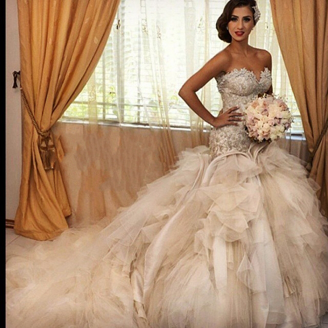 Y Mermaid Lace Beaded Wedding Dress Luxury Cathedral Train Up Gown Bridal