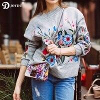 JOYDU Women S Winter Sweaters 2017 Runway Designer Flora Embroidery Ethnic Vintage Knitted Europe Ladies Pullovers