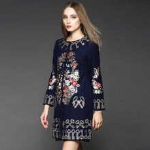 Plus size 3xl Flowers EMBROIDERY dark blue woolen coat woman Womens Coats And Jackets Winter 2015 Womens Winter Coats 158930