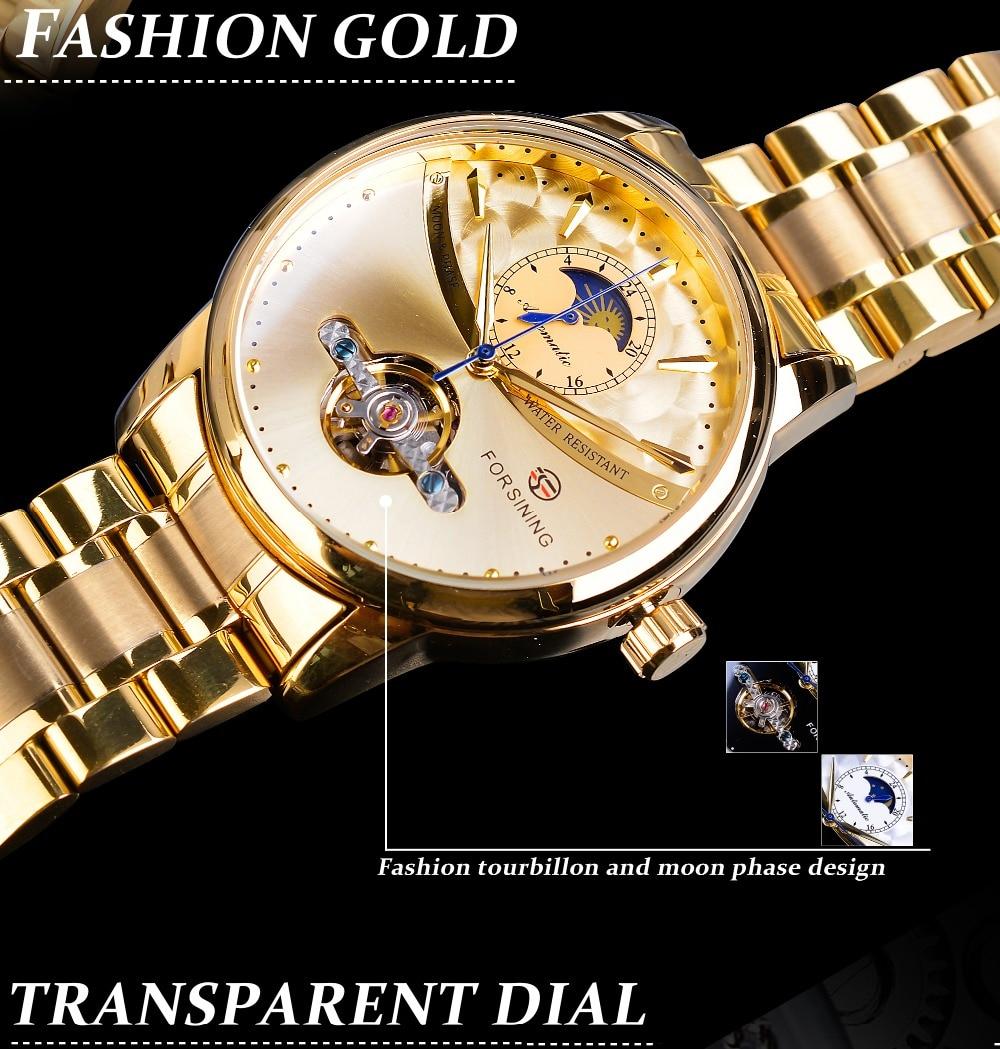 dial aço inoxidável casual moonphase ouro mecânico