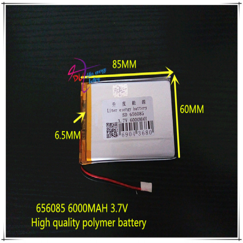 <font><b>3.7V</b></font> <font><b>6000mAH</b></font> 656085 (polymer lithium ion / Li-ion <font><b>battery</b></font>) for tablet pc MOBILE POWER BANK GPS cell phone speaker image