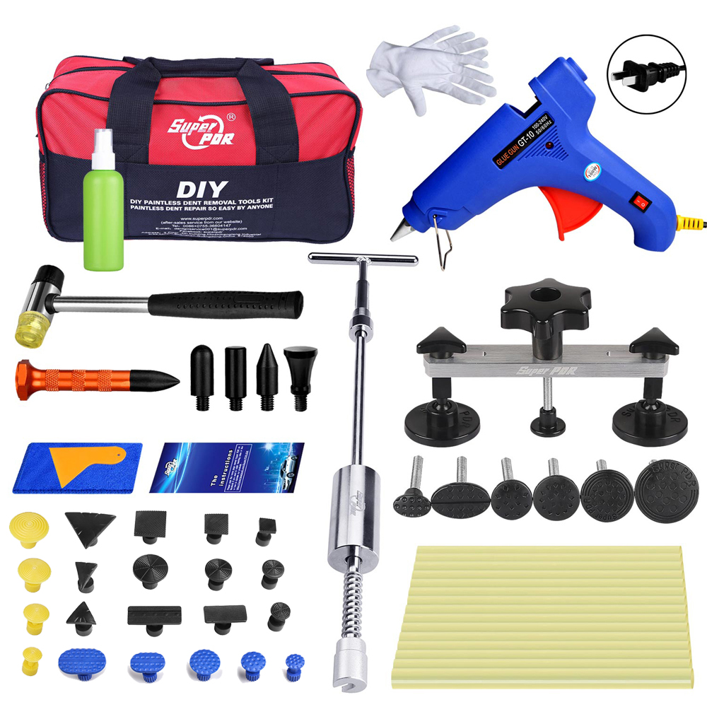 PDR tools set slide hammer pulling bridge glue gun paintless dent repair tool kit dent removal hand tools bag for car body tools цена