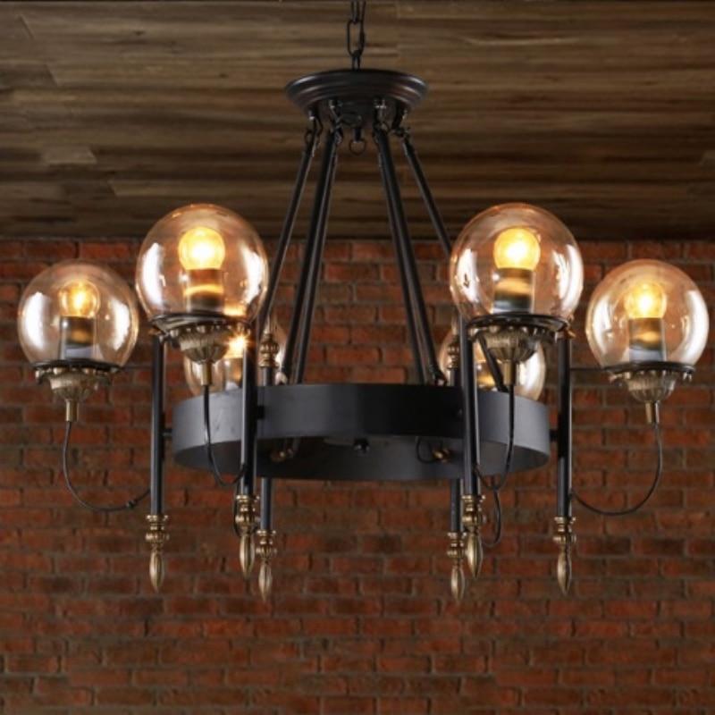 Vintage Novelty Modo Black Iron Amber Glass Ball Led E27*6/8 Heads Chain Pendant Light for Living Room Dining Room Bar 1676 post modern gold iron glass modo pendant light for living room dining room bedroom 12 16 24 heads 1233
