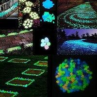 100pcs Garden Decorations Crafts Glow In The Dark Luminous Stones Glow In The Dark Pebbles Garden