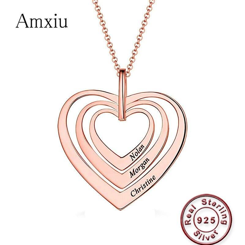 Amxiu Trois Noms Coeurs Collier 925 Sterling pendentifs en argent Graver Nom Collier Personnalisé Bijoux Pour Les Femmes Amant Cadeaux