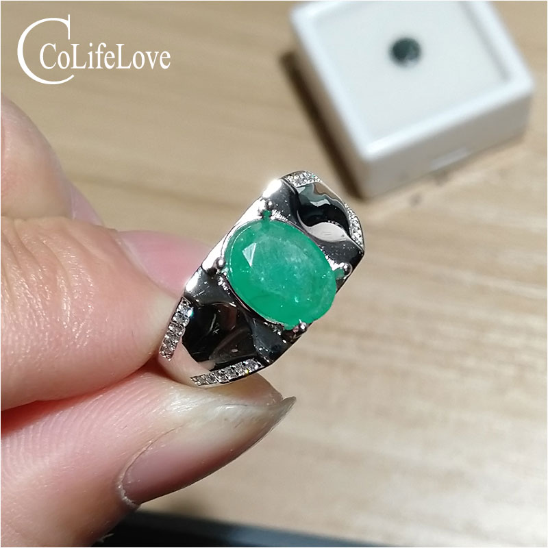 925 silver emerald ring for man 7 mm * 9 mm natural Zambia emerald man ring sterling silver emerald jewelry цены