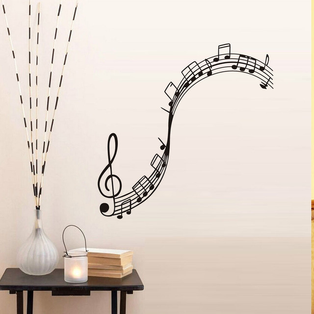 Musical Notation Wall Decals Vinyl Removable Nursery Wall Stickers Music  Note Home Decor Music Bedroom Decorative