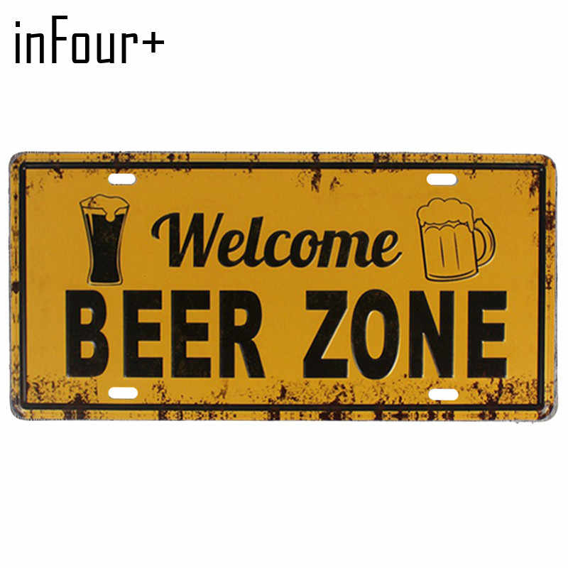 [inFour+]Welcome Beer Zone Plate Metal Plate Car Number Tin Sign Bar Pub Cafe Home Decor Metal Sign Garage Painting Plaques Sign