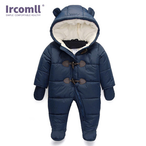 Image 2 - Lrcoml לשמור עבה חם תינוקות תינוק rompers חורף בגדי יילוד תינוק ילד הילדה Romper סרבל ברדס ילד הלבשה עליונה עבור 0 24M