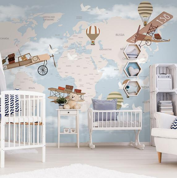 Cutom 3D wall paper mural or fresco on the wall wholesale world map and fly trip for kid's room children room and nursery room