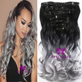 """20"""" Curly Wavy 7pcs/set 16 Clips Synthetic Hairpiece Black to Silver Gray Gradient Color Clip In Hair Extensions B40"""