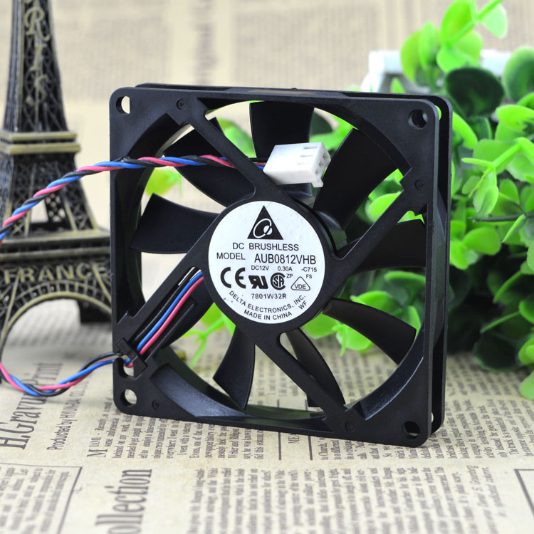 Original DELTA 8015 0.30A 8CM 12V AFB0812VHB CPU Double ball bearing cooling fan original delta afb0912shf 9032 9cm 12v 0 90a dual ball bearing cooling fan page 1