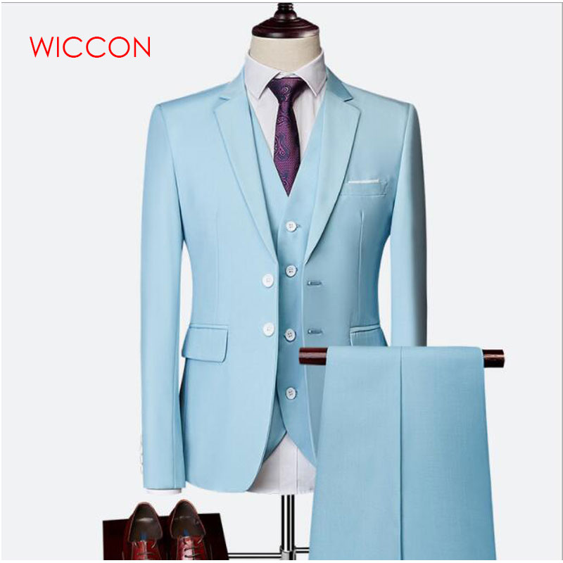 Men Suit Fashion Pure Color Slim Suit Men Business Casual Suit Grooms 3 Piece Suit Blazers (coat+pants+vest) Large Size S-6XL