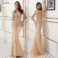 Mermaid gown Luxury Evening Dresses Long 2019 Beads Sequins Evening Gowns For Women Evening Dress vestidos de fiesta gown