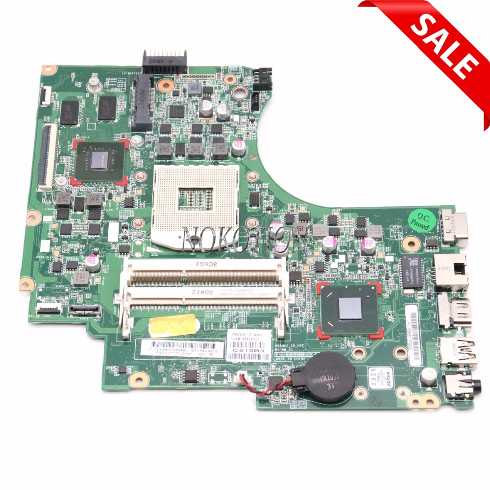 NOKOTION 748839-501 for HP 15-D 250 G2 laptop Motherboard graphics GT820M 1G S989 748839-001 Main board Full tested 747139 501 for 15 d 250 g2 laptop motherboard 747139 001 n2810 mainboard