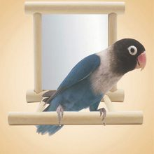 Cute Mirror Parrot Toy Wooden Fun Toys For Parrots Cockatiel Small Birds Parrot Toys Pet Parrots Climb Accessories(China)