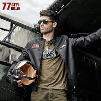 77City Killer Bomber Leather PU Cool Jacket Arrival Windbreaker Men Coat Pilot Denim Jacket Stand Collar Plus Size 4XL J1527B