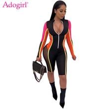 Adogirl Color Patchwork Sheer Mesh Bandage Jumpsuit Women Sexy Zipper V Neck Long Sleeve Shorts Romper