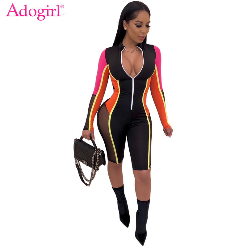 Adogirl S-3XL Color Patchwork Sheer Mesh Bandage   Jumpsuit   Women Sexy Zipper V Neck Long Sleeve Shorts Romper Night Club Playsuit