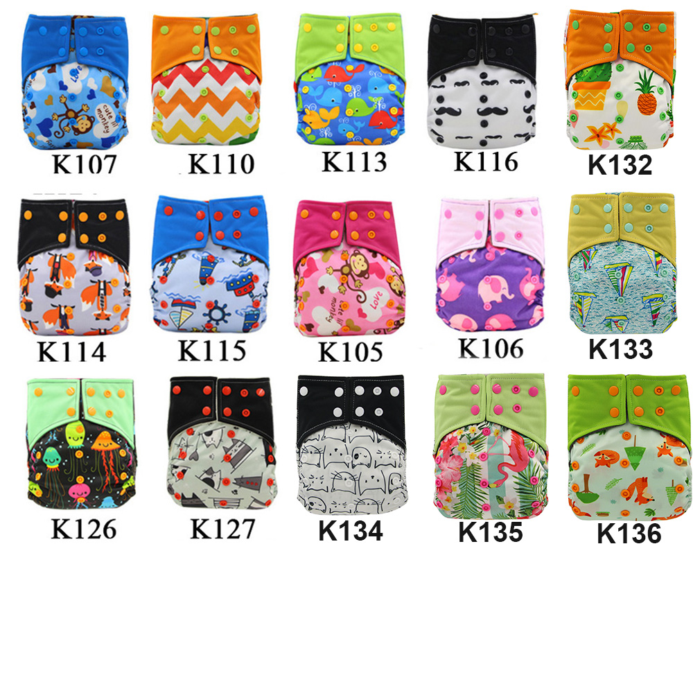 10 Pack Ohbabyka AI2 Pocket Cloth Diaper Baby Nappies Animal Pattern Baby Diaper Cover with Bamboo