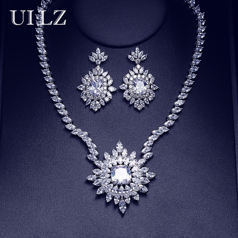 UILZ Luxury Bridal Wedding Party Flower Costume Jewelry Set Elegant CZ Zircon Crystal Necklace & Earrings Set For Brides US294