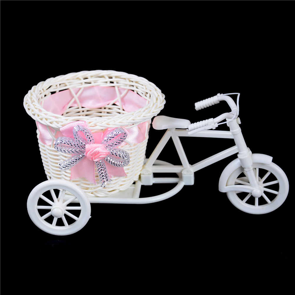 1Pc Flower Basket Pot Rattan Bicycle Storage Basket Float Vase Plant Stand Holder Tricycle Bike Design Organizer