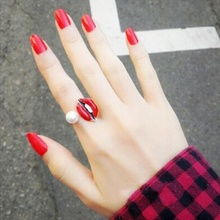 1PCS New Creative Cool Pearl Red Lip Mouth Gold Silver Eye Finger Knuckle Open Adjustable Ring